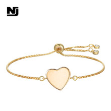 NJ Sweet Heart Charm Bracelets for Women Adjustable Shiny Princess Gold Chain Cubic Zircon Bracelet Jewelry