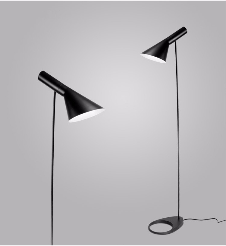 Post-modern Design iron AJ Floor Lamp Black/White Metal Stand Light for bar Living Room/Bedroom E27 LED Bulb