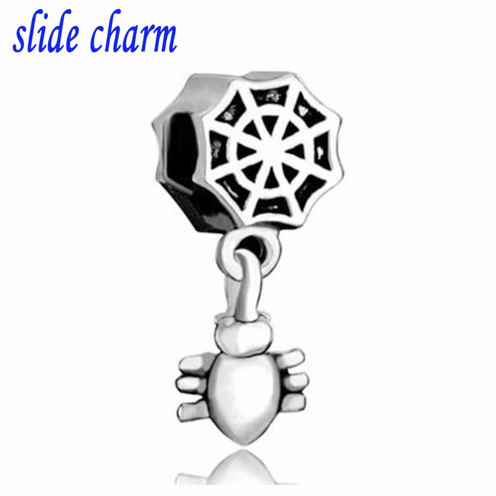 slide charm Free shipping Spider web hanging spider charm fit Pandora charm bracelet hand jewelry accessories Christmas gift 11