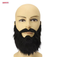 1pcs Fancy Fake Beards Halloween Costumes Party Moustache Black Flannel Beard Halloween For Pirate Dwarf Elf Cosplay 5Z-HH058(China)