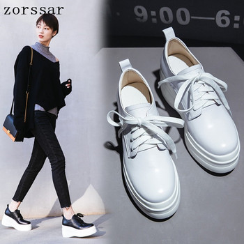 2019 New Women's Flats shoes Genuine Leather Platform sneakers Woman Shoes Lace up  Casual Female flat creepers  Moccasins
