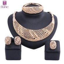 Купить с кэшбэком Women Wedding Dubai African Beads Jewelry Set Necklace Earrings Bangle Ring Nigerian Bead Flower Jewellery Sets