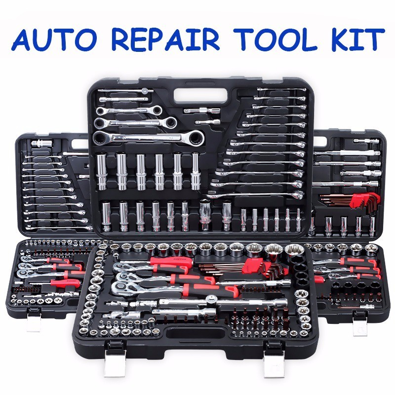 130 Pcs Ratchet Handle Wrench Spanner Socket Set 1/2 Car Repair Tool Socket Ratchet Wrench Screw Set Hand Combination Tool Kit promotion 46pc spanner socket set 1 4 car repair tool ratchet wrench set cr v hand tools combination bit set tool kit