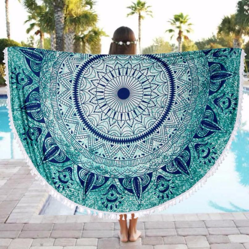 Round Beach Pool Home Shower Towel Luxury Bath Towel Blanket Table Cloth Yoga Mat Toalha De Praia Redonda