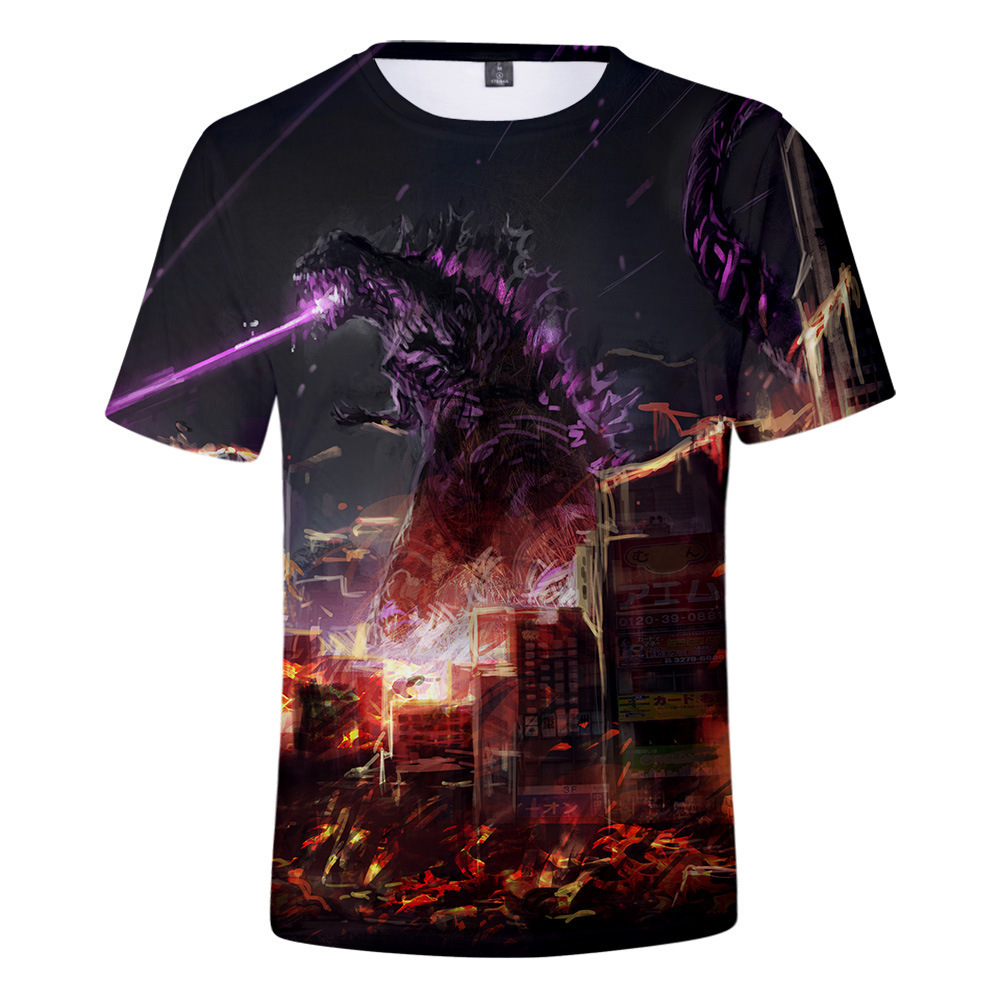 T-Shirt Kids Godzilla Tops Short-Sleeve Print Boys Children Summer Tee 3d King-Of-The-Monsters