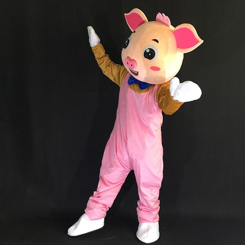 Offre spéciale mignon adulte rose cochon mascotte Costume Animal bande dessinée mascotte Costumes Costume fantaisie robe pour Halloween Prty carnaval événements