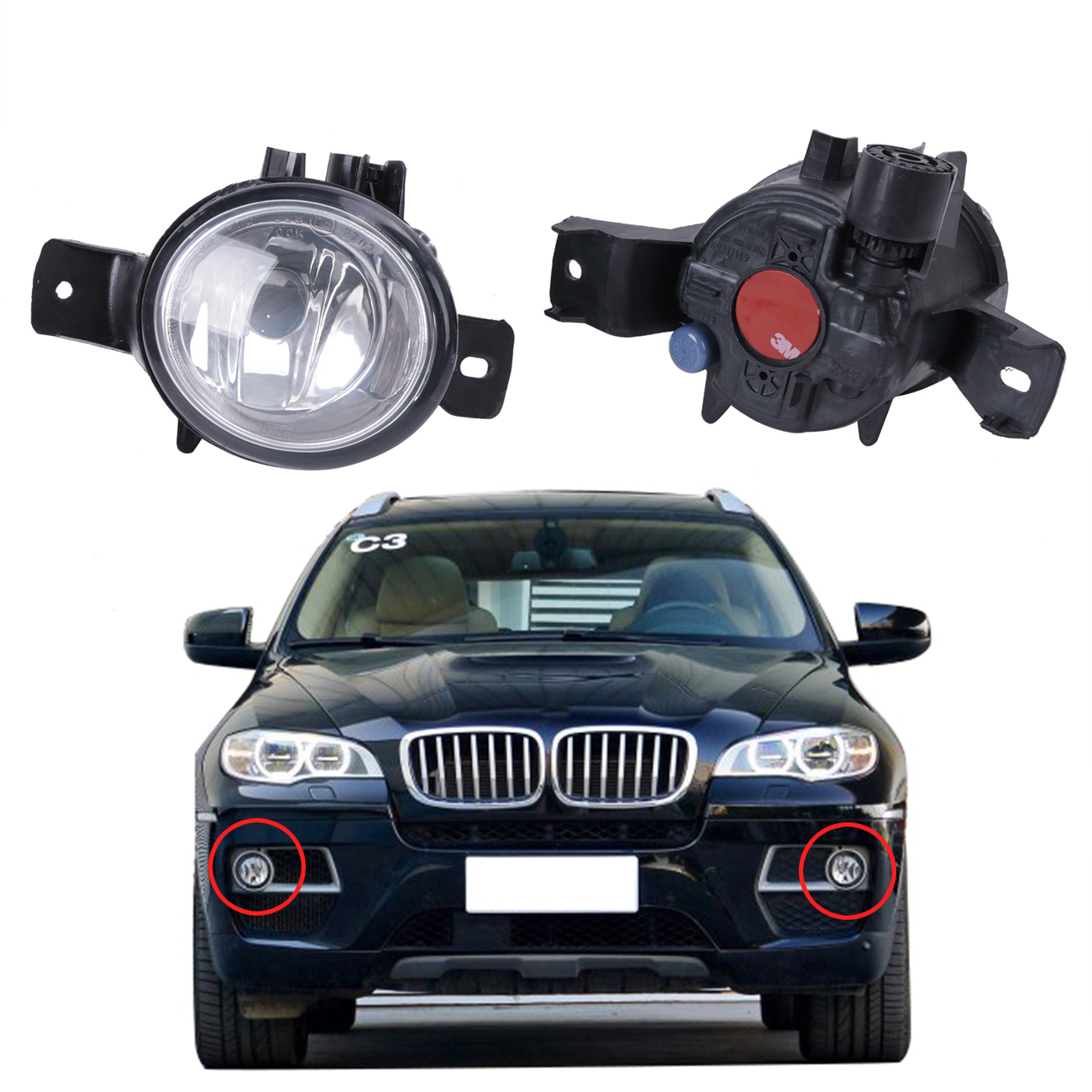 Left & Right Car Front Lateral Fog Light Foglamp For BMW X6 E71 E72 2008 2009 2010 2011 2012 2013 Car Lighting #W090 for vw golf 6 gti 2009 2010 2011 jetta 6 gli 2011 2012 2013 2014 new front right halogen new fog lamp fog light car styling