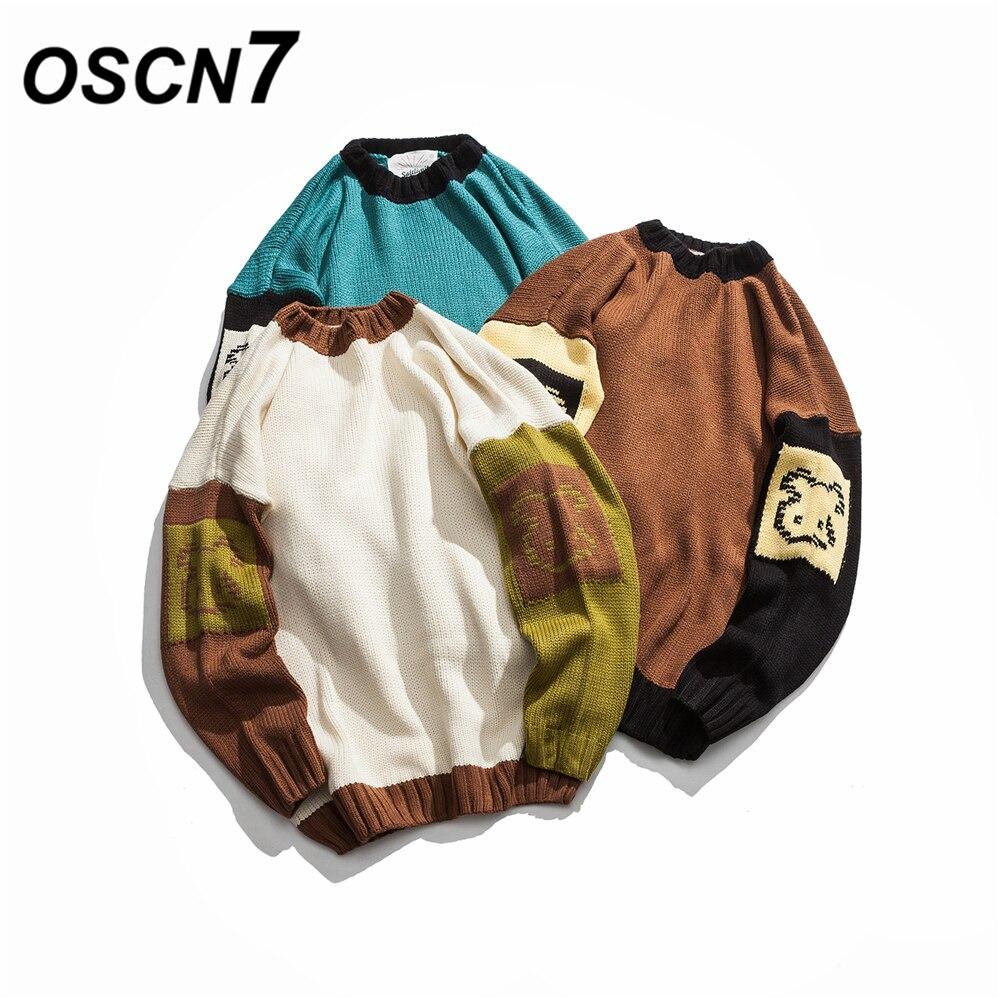 OSCN7 Mode Imprimé Chandail Hommes Patchwork 2018 Nouveau Automne Hommes Pulls Loisirs Suéter Hombre 81019