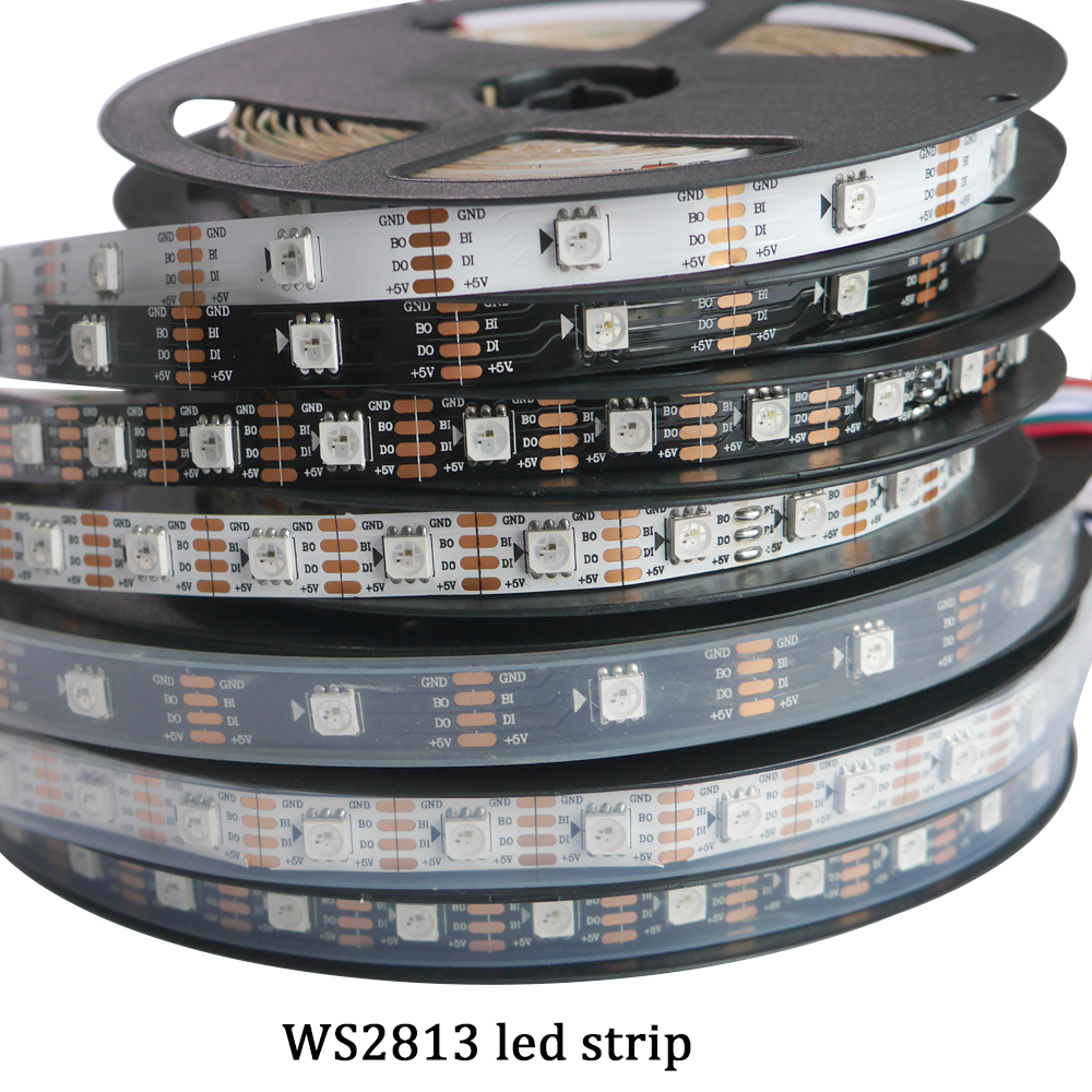 El más nuevo LED 5V WS2813 1m / 4m / 5m 30/60 leds / m Smart Pixel Led Light Negro / Blanco PCB WS2813 IC IP30 / IP67 Ambilight Led Strip Light