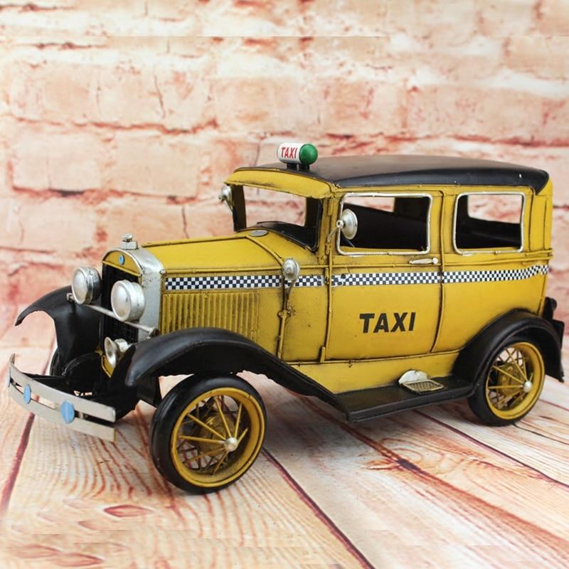 1931 rétro Ford classique Taxi voiture modèle 100% à la main vieux fer feuille modèle Rolls Royce 1:12 rétro métal décoration Pub café