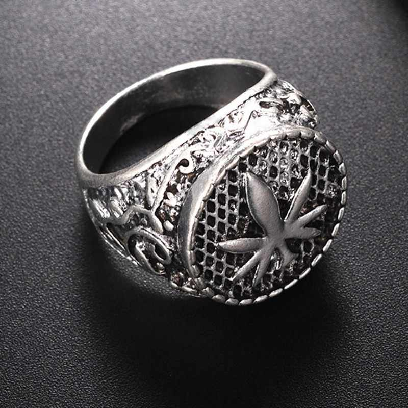 Punk Trendy Maple Leaf Signet Finger Ring For Men Women Personalized Vintage Jewelry Male Silver Color Rings