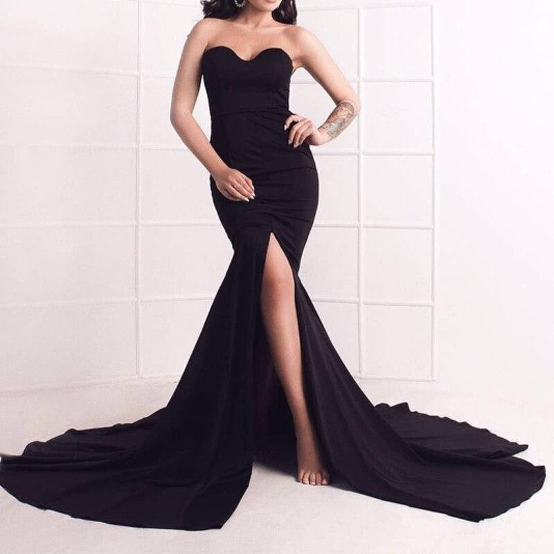 Strapless Split Leg Evening Gown Black Robe Prom Dress Padded Stretch Floor Length Dress