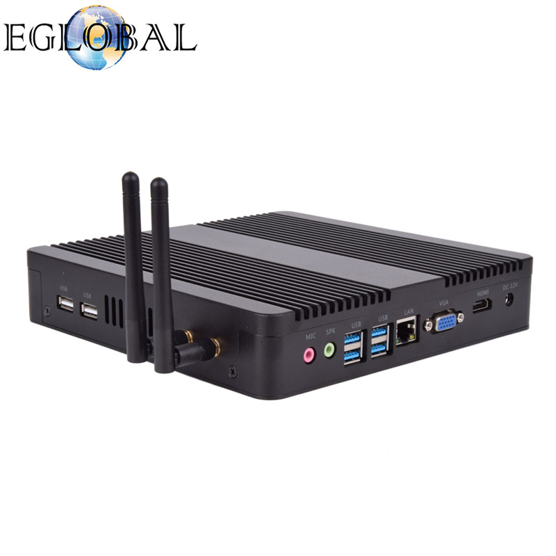 Eglobal V8 Fanless Mini PC Desktop Computer Intel Core I7 I5 7200U/5250U/4200U Win10 Linux 4K HTPC Barebone Mini Pc Nettop Nuc