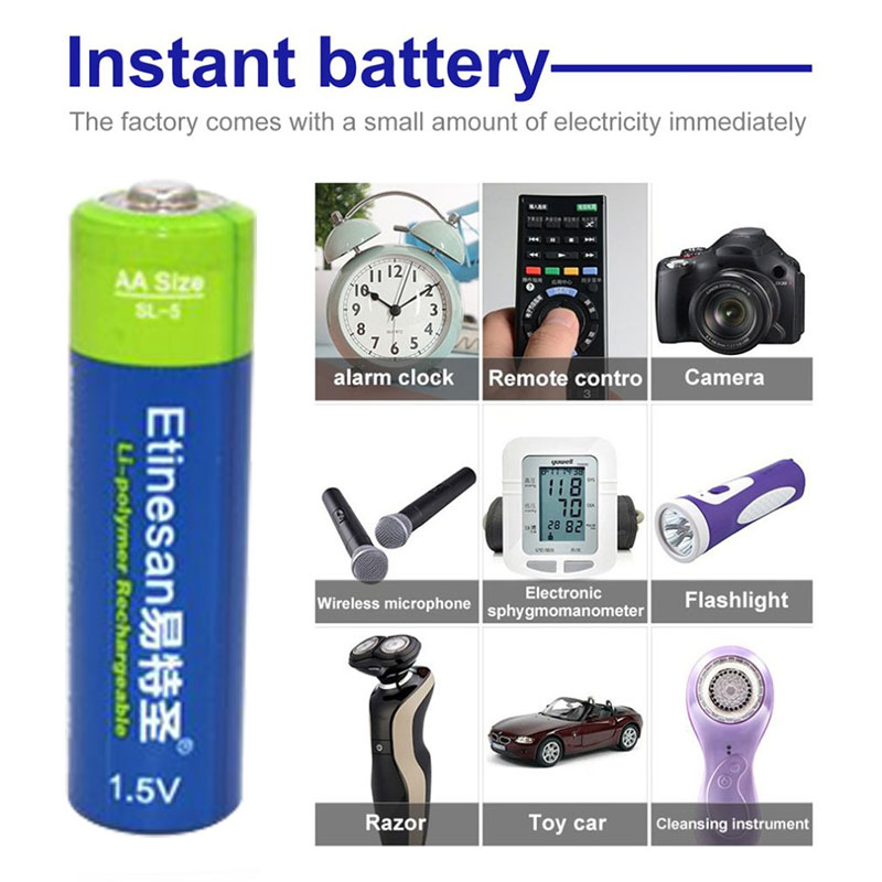 Etinesan 1.5V AA 3000mWh Rechargeable Battery Lithium polymer Batteries Apply to Camera Wireless Mouse Toy ect.