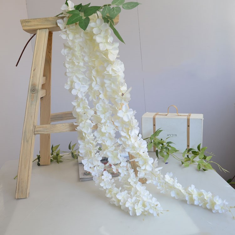 White artificial silk hydrangea flower wisteria garland hanging white artificial silk hydrangea flower wisteria garland hanging ornament for garden home wedding decoration supplies 165 cmpcs junglespirit Choice Image