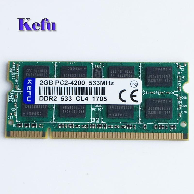 2 GB PC2-4200 DDR2-533 533 MHz DDR2 memoria portátil SODIMM Notebook RAM no ECC 200 baja densidad