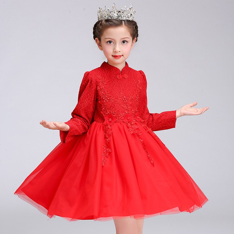 Chinese Style Long Sleeves Winter Red Flower Girls Princess Glitz Dress Kids Baby Clothes Teenager Children Fancy New Year Dress