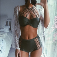 VWIWV 2017 Army Green Bikini High Waist Bikini Sexy Swimsuit Halter Swimwear Bandage Bathing Suits Split