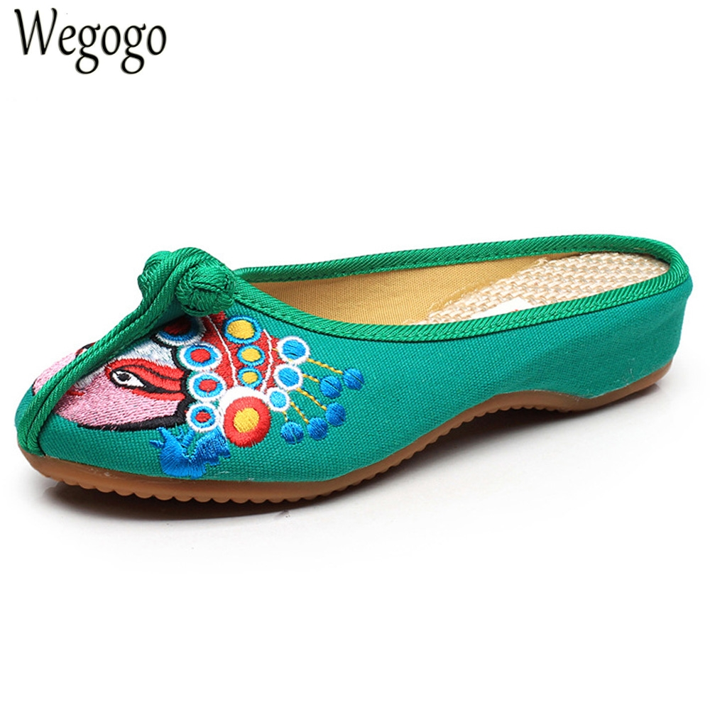 Wegogo Women Slippers Old Beijing Opera Mask Embroidery Cloth Shoes Ladies Vintage Sandals Zapatos Mujer Sandials Plus Size 43 рубашки