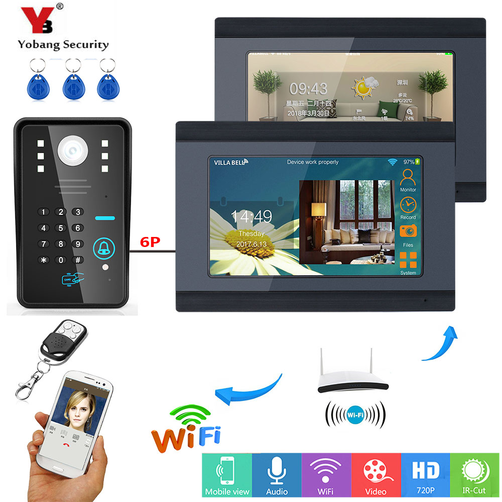 YobangSecurity RFID Code 7 Inch LCD Screen Wireless Video Door Phone Doorbell Video Intercom APP Control 1 Camera 2 Monitor. 7 inch lcd video door phone intercom doorbell rfid carder 1 camera 2 monitor with door button href