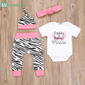 4PCS baby set fashion newborn baby girl clothes summer cotton Romper+striped Pants Hat Headband Outfits Set infant clothing