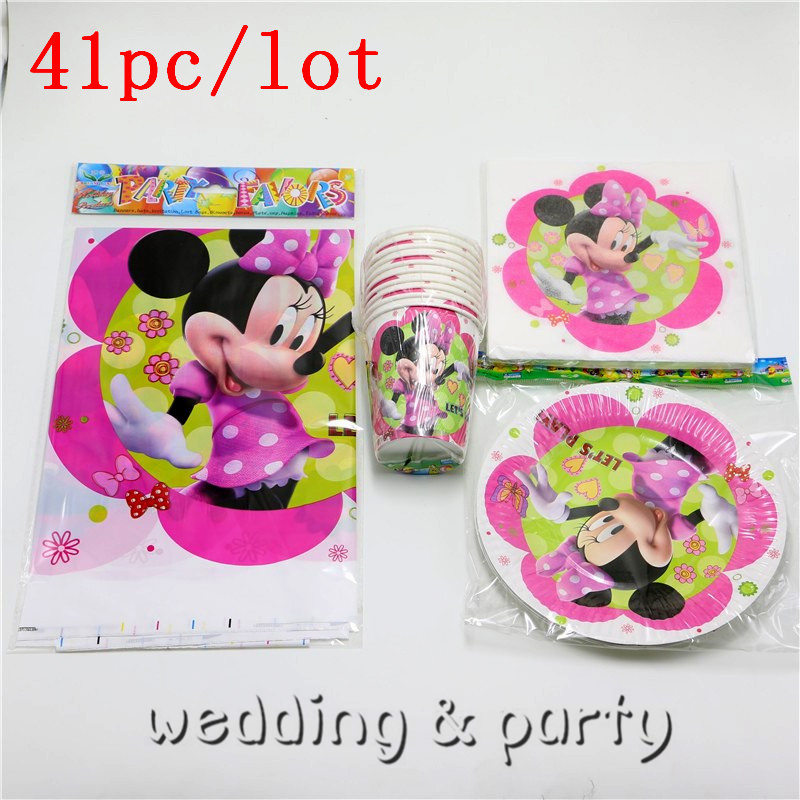 Party Set 41PCS Minnie Mouse Cartoon theme party Tableware Paper Plate Napkins For Kid Birthday Party Supplies Decoration