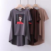 oversized Plus Size Short Sleeve Loose Women T Shirt Gray Brown Print Cotton t shirt Women Tops Tshirt Summer Tee Shirt 6XL