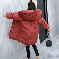 2018 Winter Women Hooded Coat Fur Collar Thicken Warm Long Jacket Female Plus Size Outerwear Parka Ladies Chaqueta Feminino