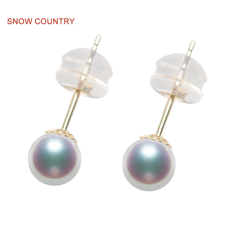 SNOW COUNTRY Allergy Free 4.5-5mm Tiny small Akoya Pearl Stud Earrings 18K Solid Gold High Luster For Teen Girl Free Shipping украшение на шею mikimoto 8 8 5mm akoya 18k