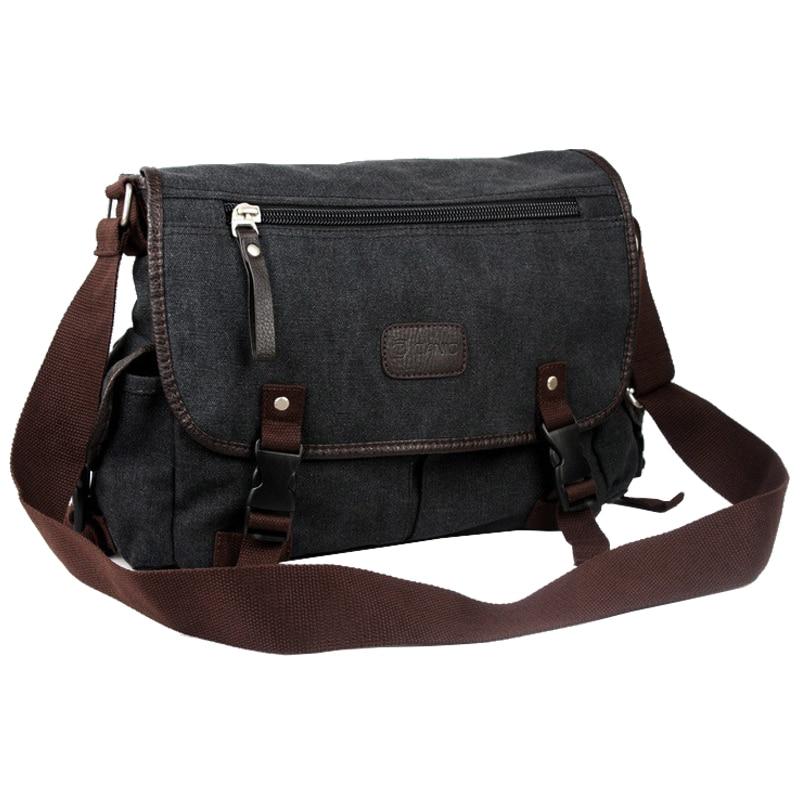 TEXU Vintage Men Canvas Shoulder Bag Satchel Casual Crossbody Messenger School Bag, BlackTEXU Vintage Men Canvas Shoulder Bag Satchel Casual Crossbody Messenger School Bag, Black
