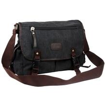 TEXU Vintage Men Canvas Shoulder Bag Satchel Casual Crossbody Messenger School Bag, Black
