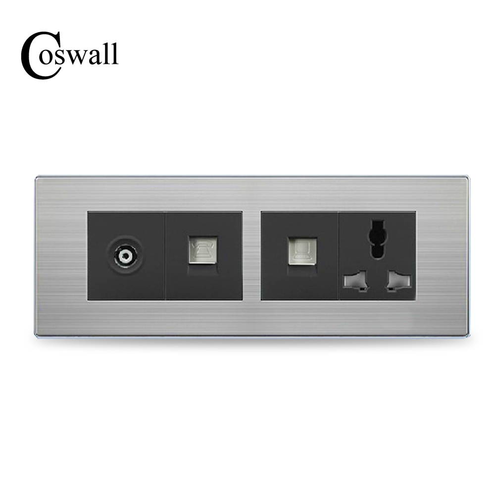 COSWALL Luxury Wall Universal Power Socket With TV Port +Telephone Outlet + RJ45 Internet Jack Stainless Steel Panel 197mm*72mm цена