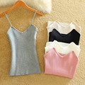 2016 Summer 5 color off shoulder strap knitted camis V neck Camisole women Backless Slim body camis sexy camis lady body tank