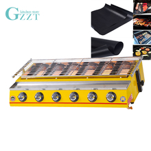 GZZT BBQ Grill LPG Gas Smokeless Barbecue Grill Yellow 6 Burners Buy One Get BBQ Mat Outdoor Picnic Garden Commercial Household stainless steel bbq grill gas barbecue roaster gas infrared grill commercial household bbq gas oven smokeless gas oven ye102