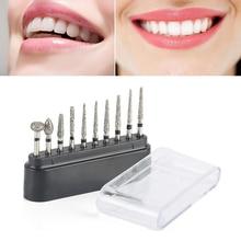 10 stücke Dental Bohrer Lab Grat Bits Set Diamant Polieren Schleifen Bohrer Grinder Bits Drehwerkzeug Dental Ausrüstung Polierer Werkzeug