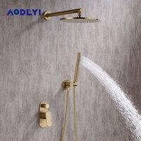 AODEYI матовый золотой Ванная комната набор для душа 8 10 дюймов Rianfall Насадки для душа смеситель для душа настенный душ Arm Смеситель переключающ