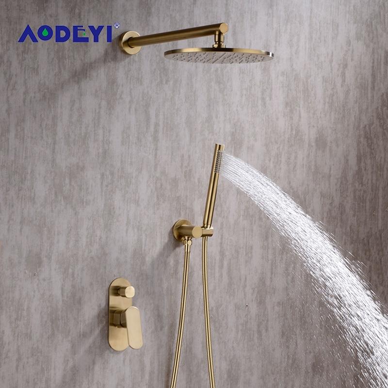 AODEYI матовый золотой душевой набор 8-10 дюймов Rianfall душевая головка смеситель для душа настенный душевой рычаг смеситель для душа