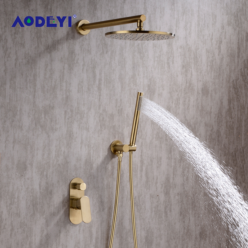 AODEYI Brushed Gold Bathroom Shower Set 8 10Inch Rianfall Shower Head Shower Faucet Wall Mounted Shower