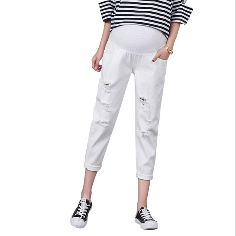 New White Pregnant Stomach Lift Pants Fashion Maternity Hole Jeans Loose Comfortable Pregnancy Pants