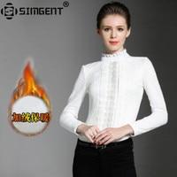Simgent Womens Tops Winter Warm Cashmere Lace Women Shirt Long Sleeve Blouse White Black Chemisier Femme