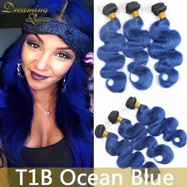 8a Top 3 Pcs Of Brazilian Ombre Body Wave Blue Hair Extensions 1b