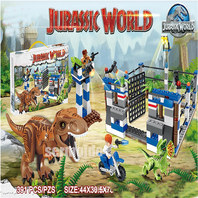 Super Heroes Jurassic World Dinosaur Figures Big Tyrannosaurus Rex Police with Weapons Bricks Diy Toys For Children DBP505 37 cm tyrannosaurus rex with platform dinosaur mouth can open and close classic toys for boys animal model without retail box
