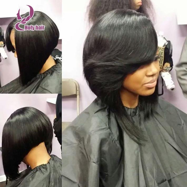 A line bob cut human hair lace front wigs black women glueless lace front  human hair bob wigs with bang full lace bob wig 72674de4b9