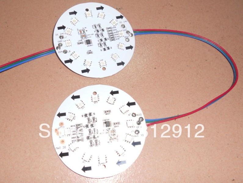 non-waterproof DC24V WS2811 pixel <font><b>module</b></font>, with 12pcs 5050 RGB SMD <font><b>LED</b></font>,85mm diameter pcb,20pcs a string image