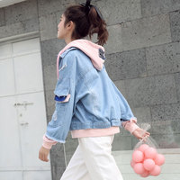 2018 Autumn Jacket Women Denim Coat Lolita Embroidery Patchwork Fake Two Piece Hooded Long Sleeve Jeans Jacket Pink White C219