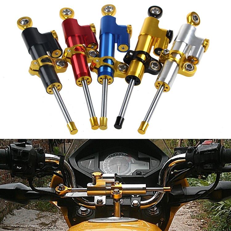 5 Цвет мотоциклов рулевой демпфер комплект КБК 24 кликов тюнинг для гонок Кавасаки Сузуки Дукати ход 75мм