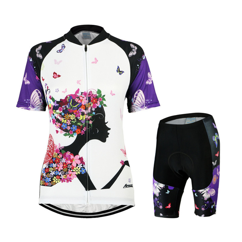 Women Cycling Jersey And Shorts Set Breathable Short Sleeve Polyester Lycra Printing Bike Bicycle Shirt Sports Clothing