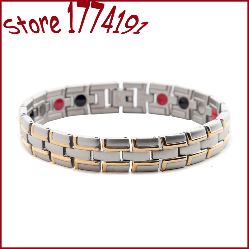 Top 4 In 1 Anti Fatigue Bracelets Magnets Fir Anion Magnetic Energy Bracelet Germanium Stones Health Healing Chain Link