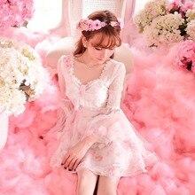 Милое платье принцессы в стиле Лолиты; яркое осеннее шифоновое платье феи с длинными рукавами и цветочным принтом; цвет розовый; C15CD5855