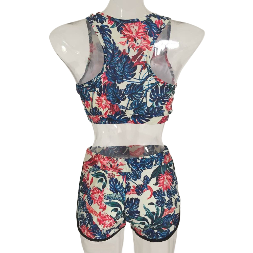 Bikini Swimwear Women Floral Printed Bikini Set Padded high waist Beachwear Bathing Suit 2